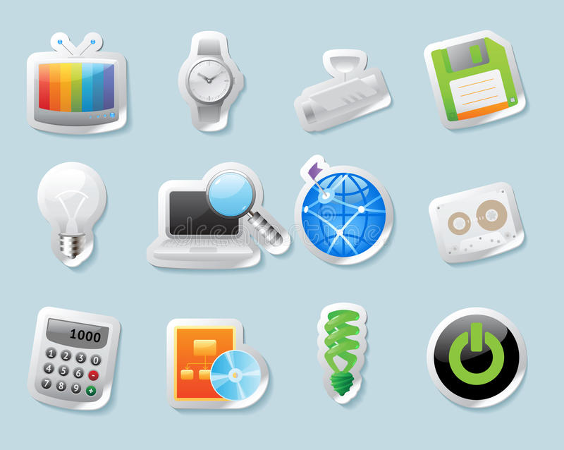 Iconos de la etiqueta engomada para la tecnología y los dispositivos stock de ilustración