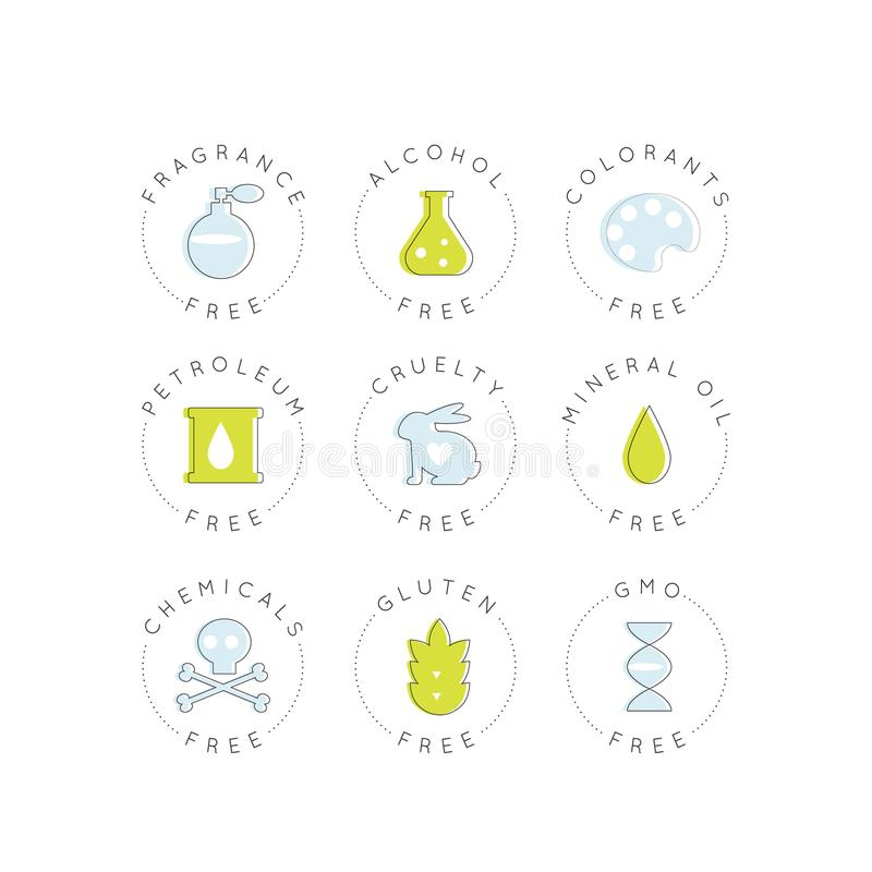 Iconos de la etiqueta de Logo Set Badge Ingredient Warning OGM, fragancia, crueldad, alcohol, colorantes, petróleo, aceites miner ilustración del vector