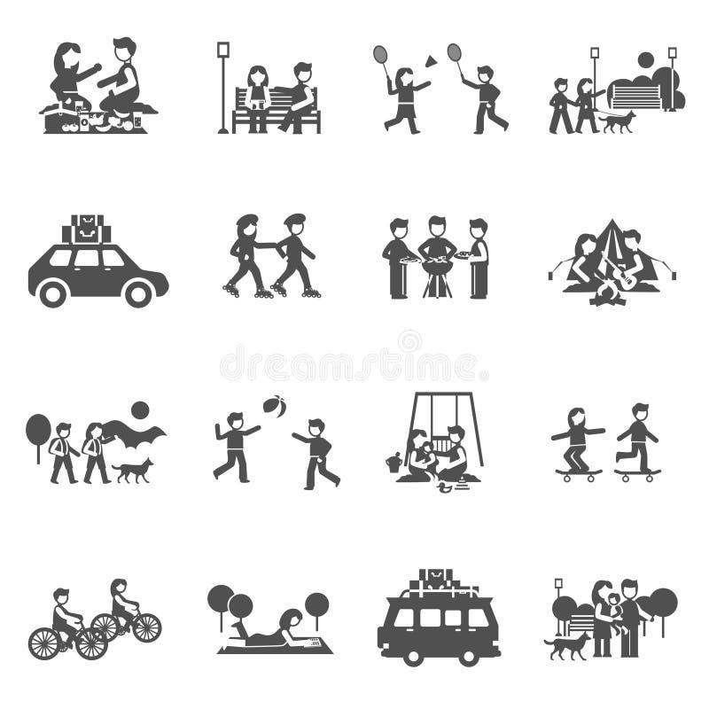 Iconos de la excursión fijados libre illustration