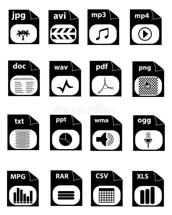Iconos de la extensión de archivo ilustración del vector