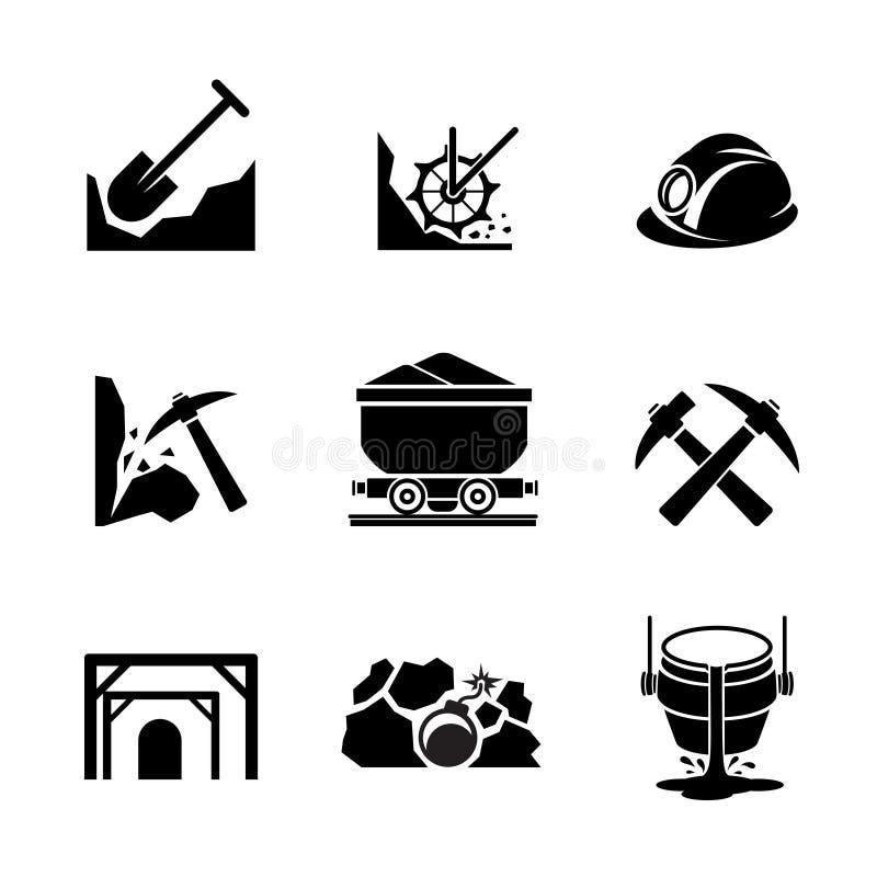 Iconos de la extracción de la explotación minera y del mineral libre illustration