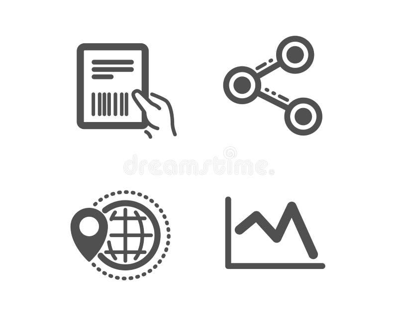 Iconos de la factura del World Travel, de la parte y del paquete L?nea muestra de la carta El indicador del mapa, sigue la red, d libre illustration