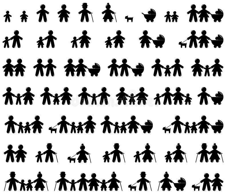 Iconos de la familia fijados stock de ilustración