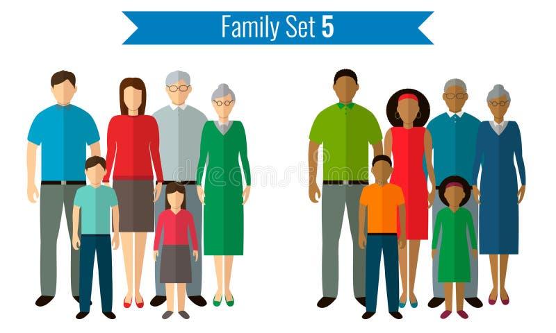 Iconos de la familia fijados Cultura tradicional, familia nacional Vector stock de ilustración