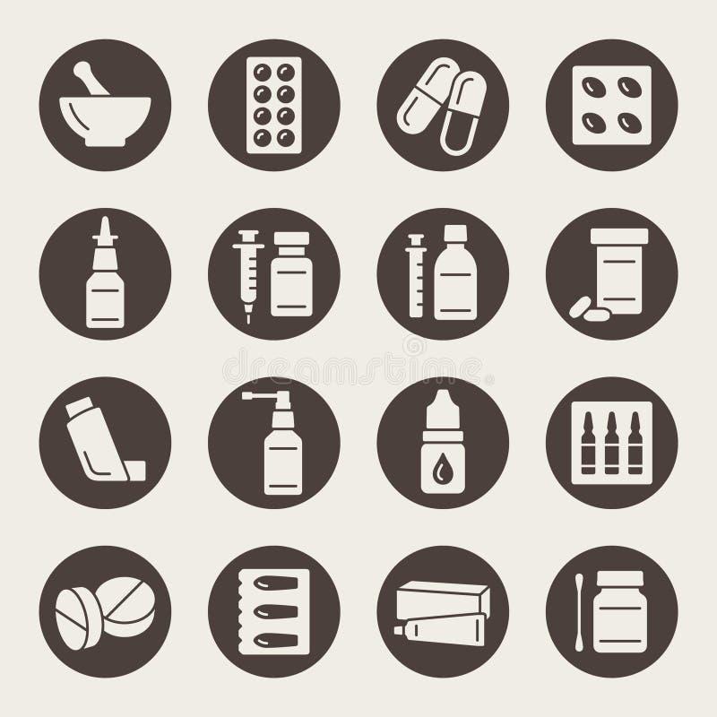 Iconos de la farmacia ilustración del vector