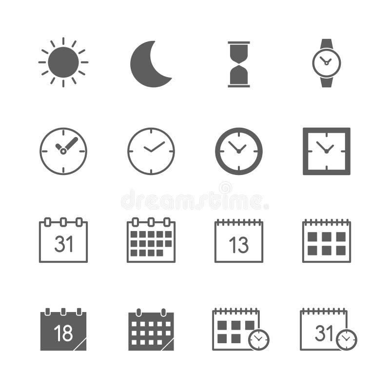Iconos de la fecha del tiempo fijados stock de ilustración