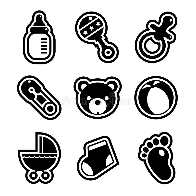 Iconos de la fiesta de bienvenida al bebé stock de ilustración