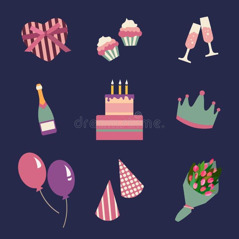 Iconos de la fiesta de cumpleaños fijados e icono de la celebración Símbolos de la colección del cumpleaños stock de ilustración