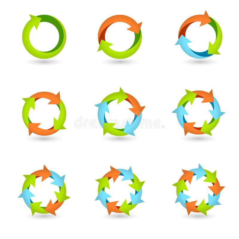 Iconos de la flecha del círculo libre illustration