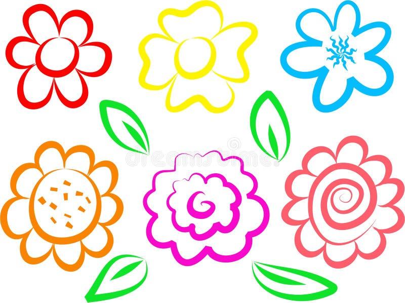 Iconos de la flor stock de ilustración