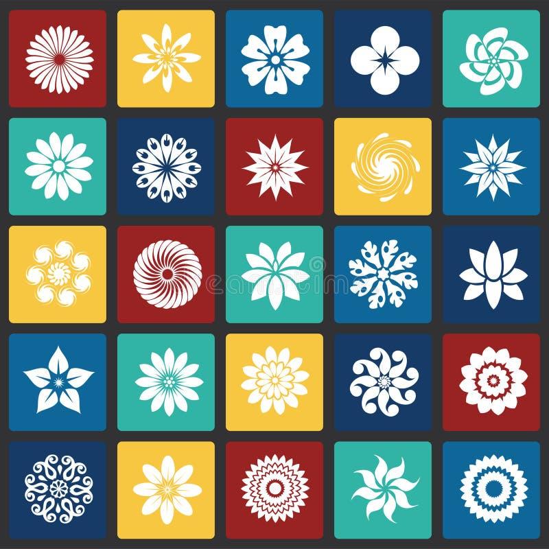 Iconos de la flor fijados en el fondo de los cuadrados del color para el gráfico y el diseño web, muestra simple moderna del vect stock de ilustración