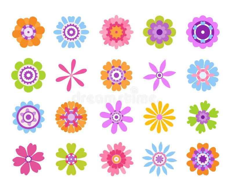 Iconos de la flor de la historieta Etiquetas engomadas femeninas lindas del verano, sistema moderno del icono del clip art de las libre illustration