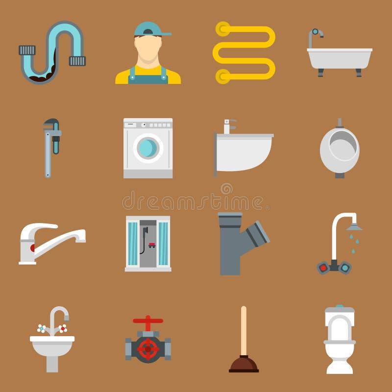 Iconos de la fontanería fijados en estilo plano libre illustration