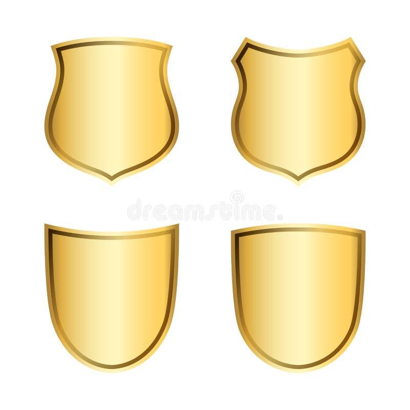 Iconos de la forma del escudo del oro fijados muestras de oro del emblema 3D aisladas en el fondo blanco Símbolo de la seguridad, stock de ilustración