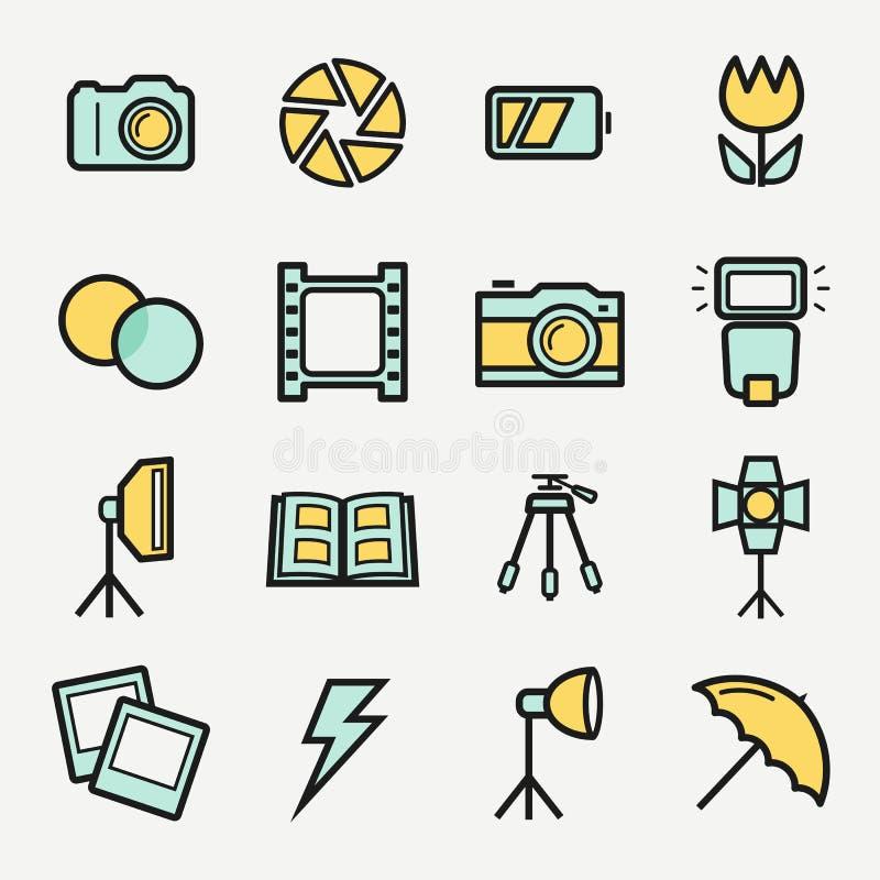 Iconos de la foto fijados Símbolos coloreados vector del esquema ilustración del vector