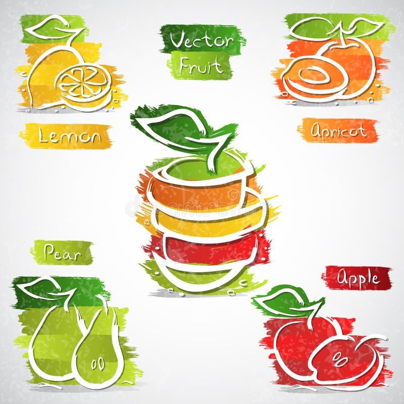 Iconos de la fruta ilustración del vector