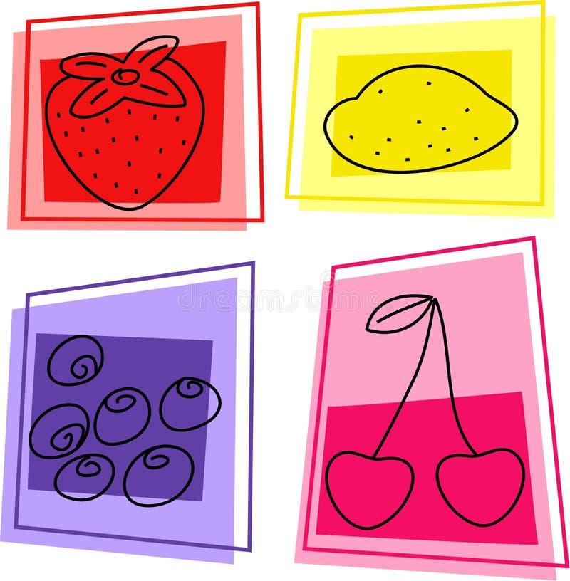 Iconos de la fruta stock de ilustración