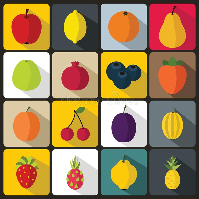 Iconos de la fruta fijados stock de ilustración