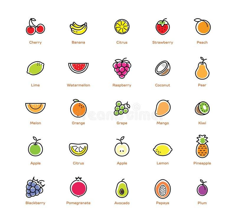 Iconos de la fruta fijados Diseño colorido stock de ilustración