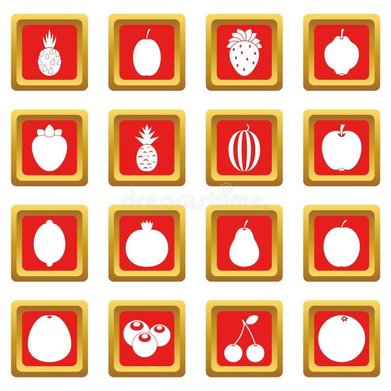 Iconos de la fruta fijados rojos stock de ilustración