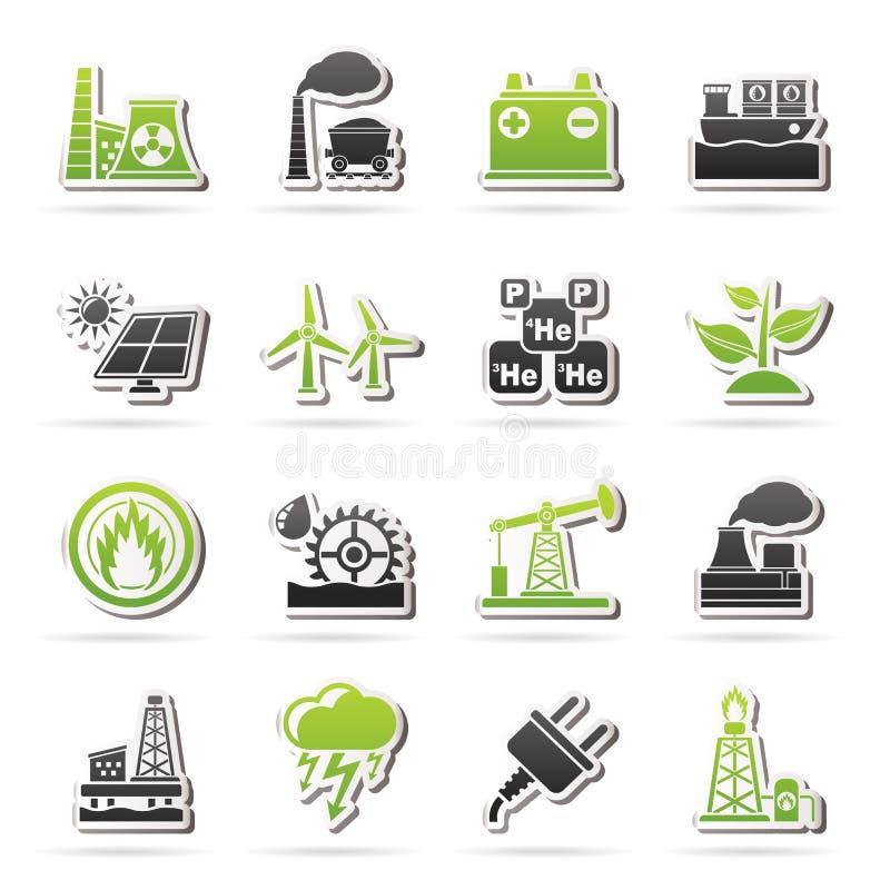 Iconos de la fuente de la electricidad y de energía ilustración del vector