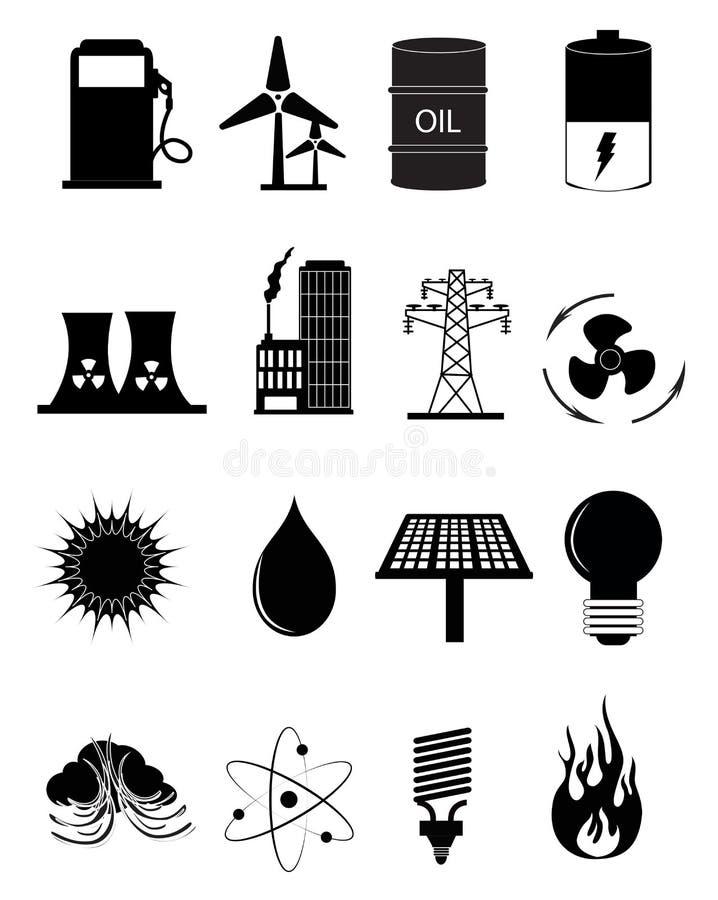 Iconos de la fuente de la energía y de energía fijados stock de ilustración