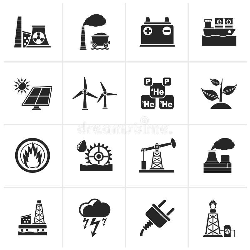 Iconos de la fuente negra de la electricidad y de energía libre illustration