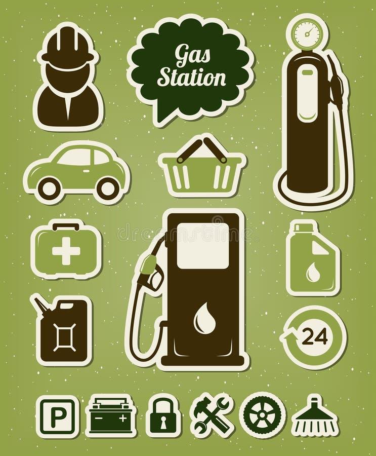 Iconos de la gasolinera stock de ilustración