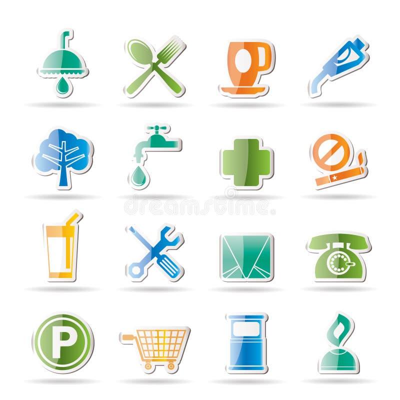 Iconos de la gasolinera y del recorrido ilustración del vector