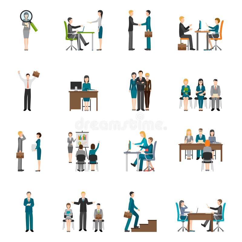 Iconos de la gente de la hora del reclutamiento fijados ilustración del vector