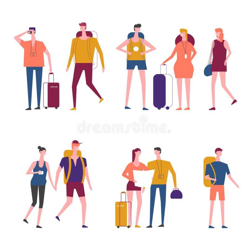 Iconos de la gente del vector de la historieta de los viajeros que viajan ilustración del vector
