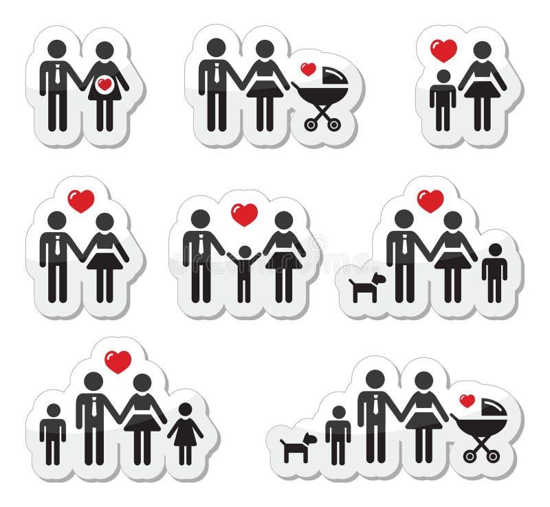 Iconos de la gente - familia, bebé, mujer embarazada, coupl stock de ilustración
