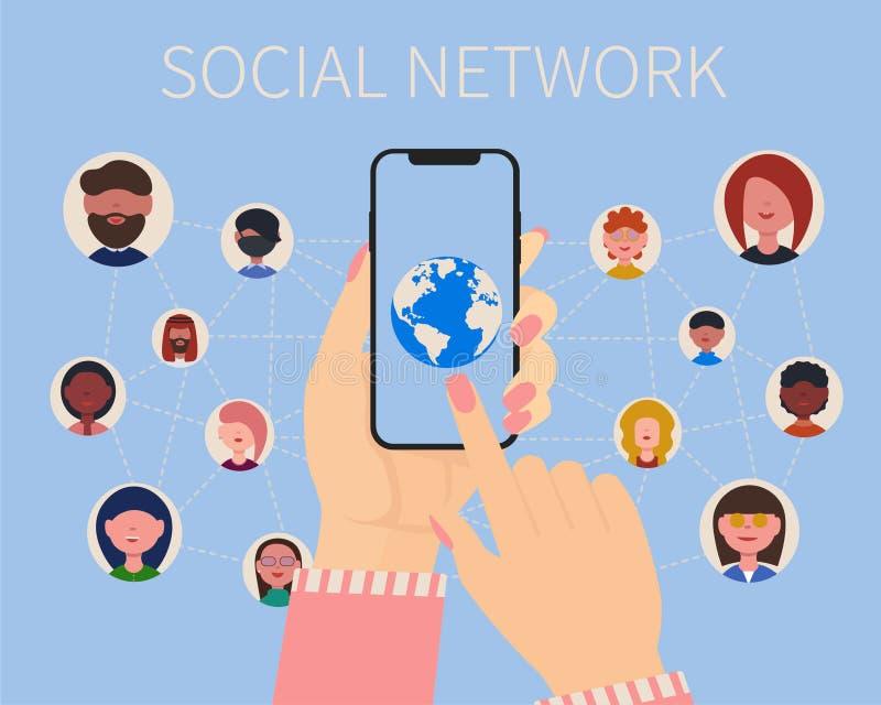 Iconos de la gente de la red, manos de la mujer y planeta sociales stock de ilustración