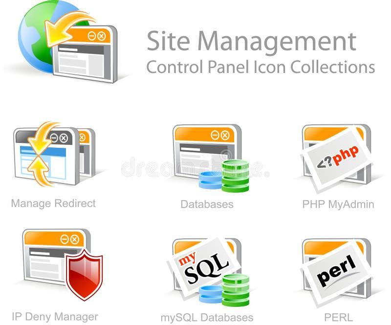 Iconos de la gerencia del Web site stock de ilustración