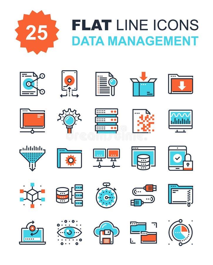 Iconos de la gestión de datos ilustración del vector
