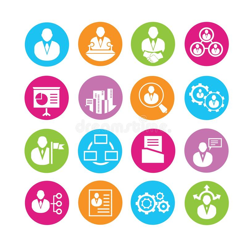 Iconos de la gestión de la organización ilustración del vector