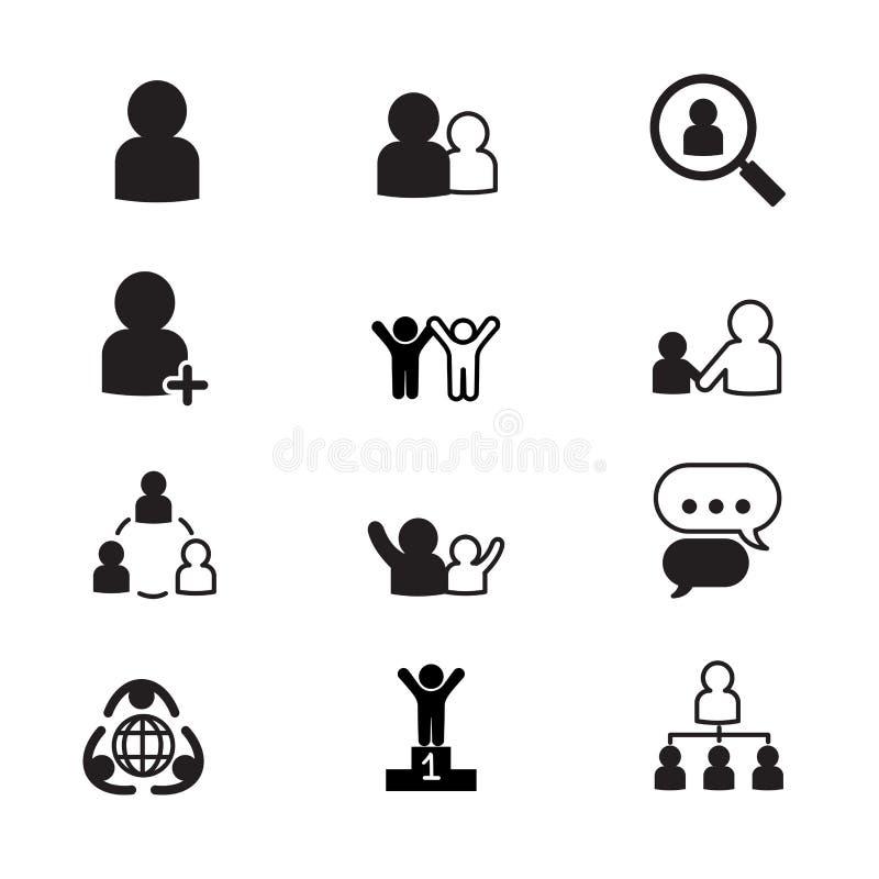 Iconos de la gestión de recursos humanos fijados ilustración del vector