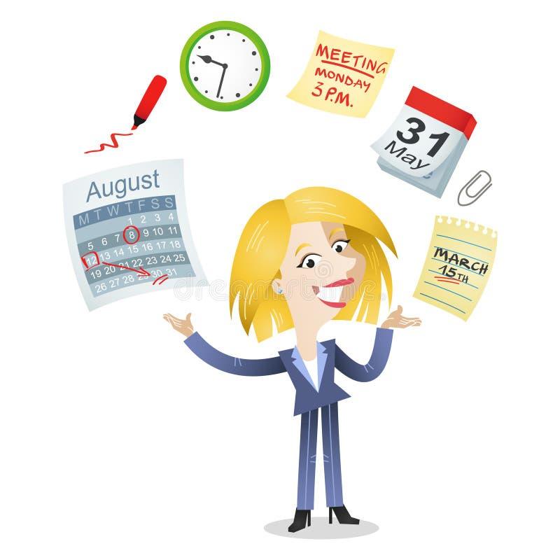 Iconos de la gestión de tiempo de la mujer de negocios ilustración del vector