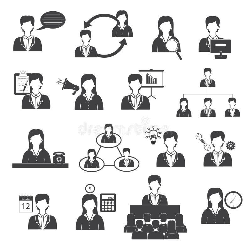 Iconos de la gestión y de la organización de negocio fijados ilustración del vector
