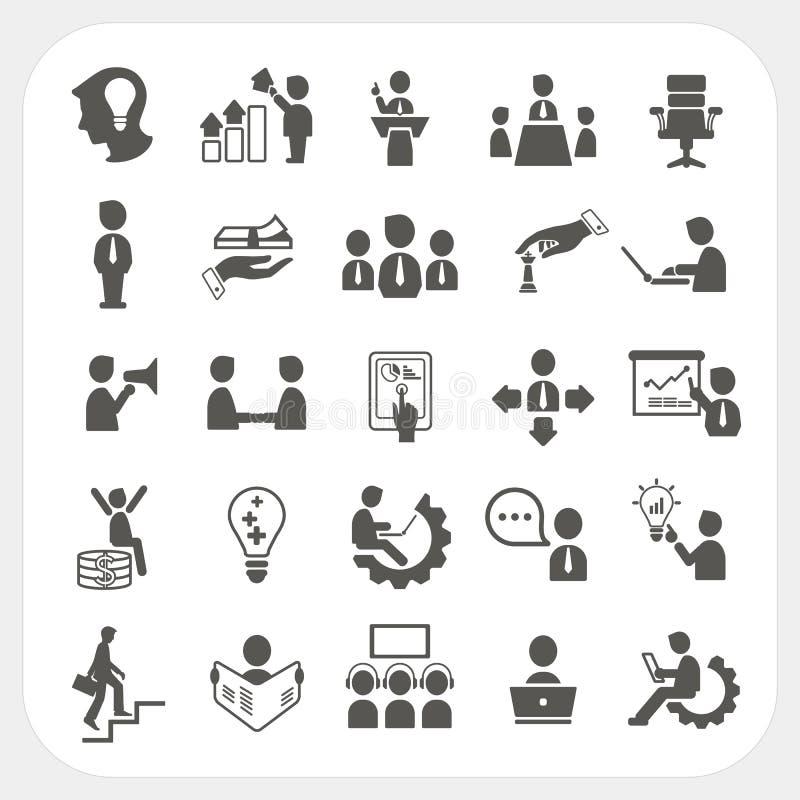 Iconos de la gestión y del negocio fijados ilustración del vector