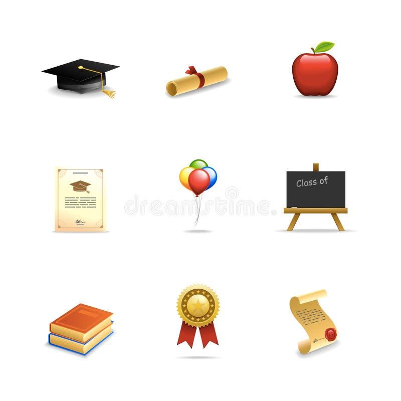 Iconos de la graduación stock de ilustración