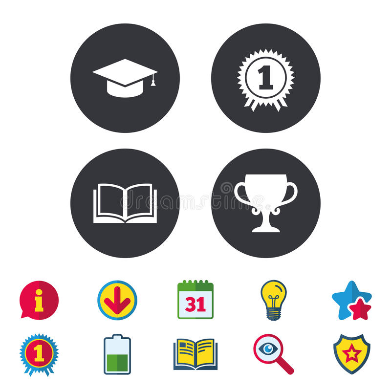 Iconos de la graduación Símbolo del libro de la educación stock de ilustración