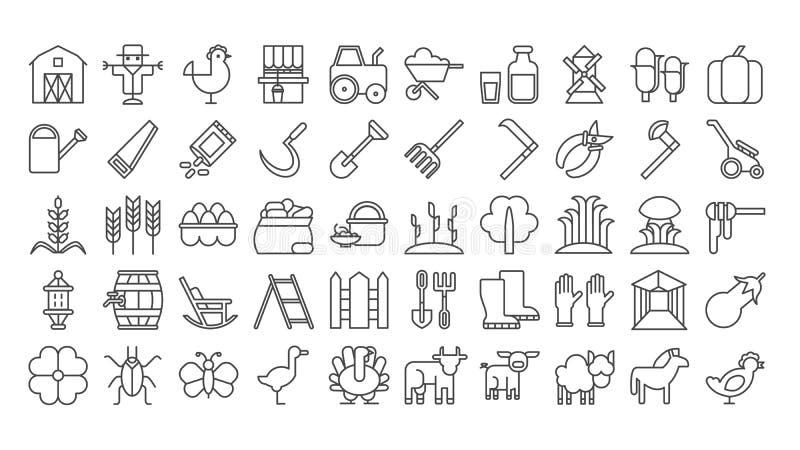 Iconos de la granja fijados ilustración del vector