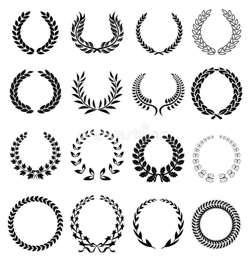 Iconos de la guirnalda del laurel stock de ilustración