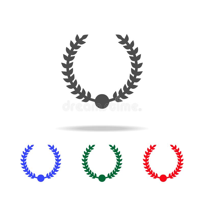 Iconos de la guirnalda del laurel Elementos del elemento del deporte en iconos coloreados multi Icono superior del diseño gráfico stock de ilustración
