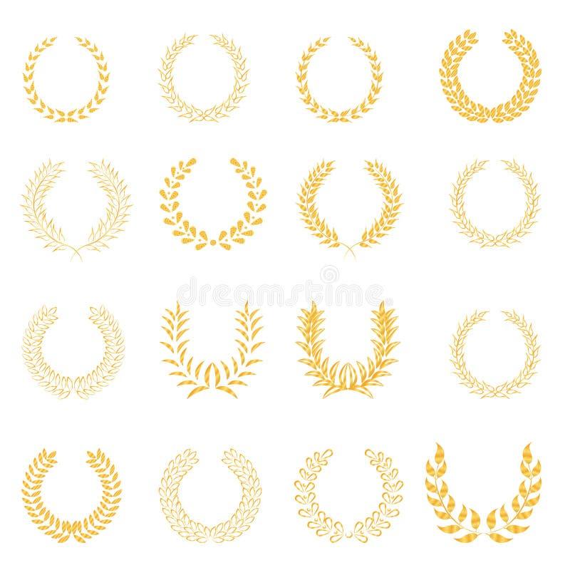 Iconos de la guirnalda del laurel fijados stock de ilustración
