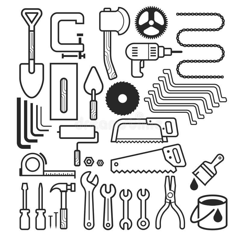 Iconos de la herramienta de la arquitectura y de la construcción fijados stock de ilustración