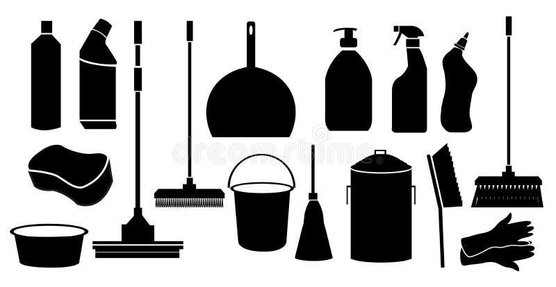 Iconos de la herramienta de la limpieza fijados ilustración del vector