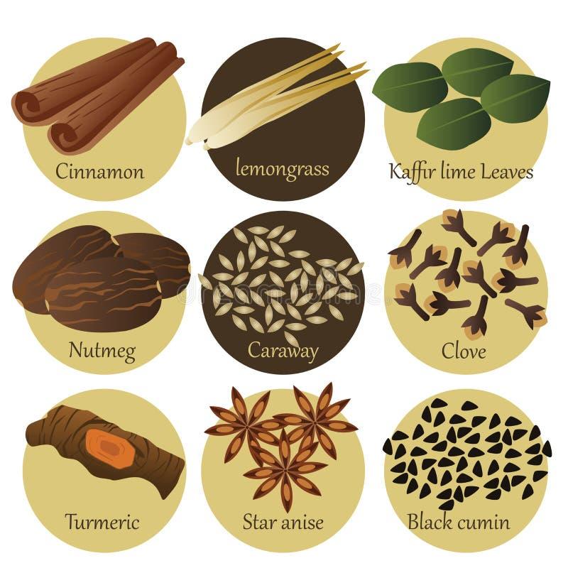 Iconos de la hierba ilustración del vector