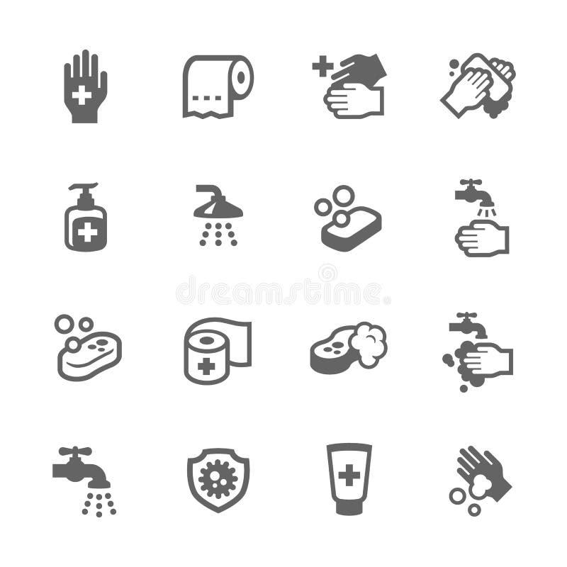 Iconos de la higiene stock de ilustración